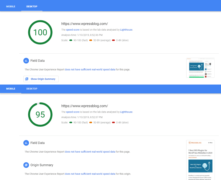 Prova de velocitat de l'eina Insights Inspection PageSpeed ​​de Google