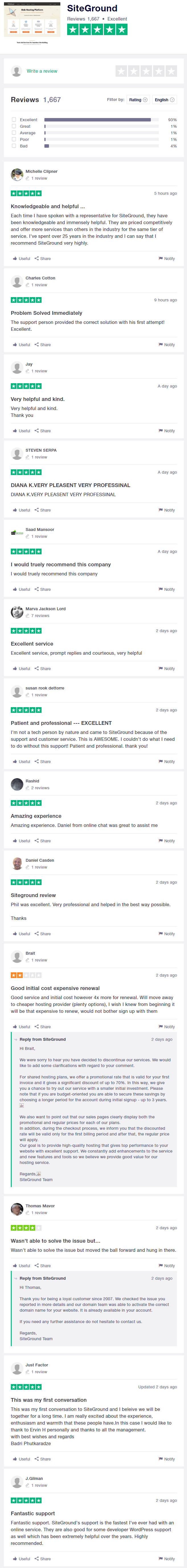 Opinions dels clients de SiteGround de Trustpilot